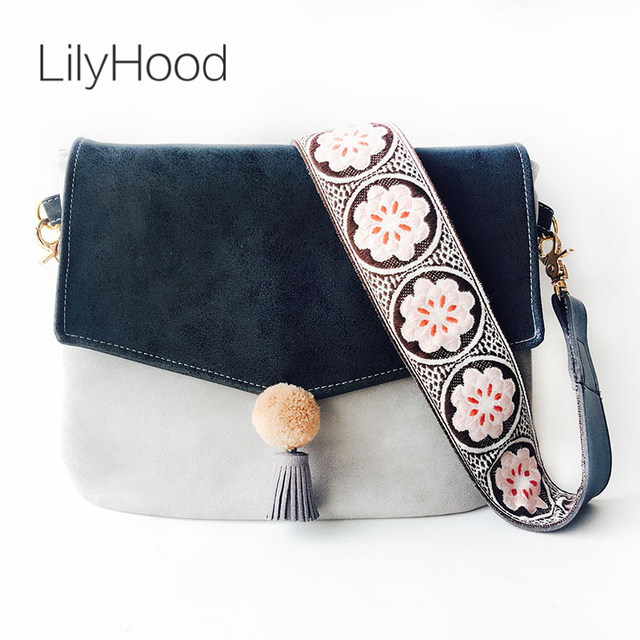 LilyHood Women Canvas Cute Shoulder Bag Female Bohemian Boho Chic Pom Pom Fringe Floral Embroidery Wide Strap Crossbody Bag