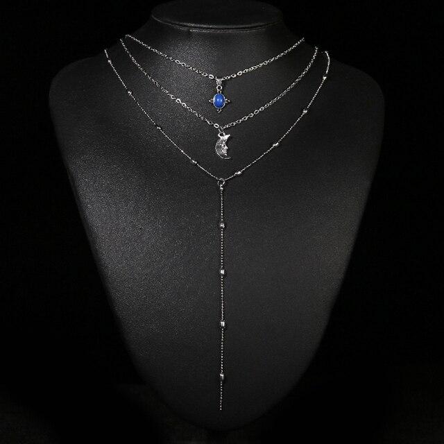 4e433bb93b2f € 0.93 30% de DESCUENTO|Mujeres Bohemia Vintage plata cadena aleación Luna  colgante collar de múltiples capas para las mujeres 2018 nuevo regalo ...