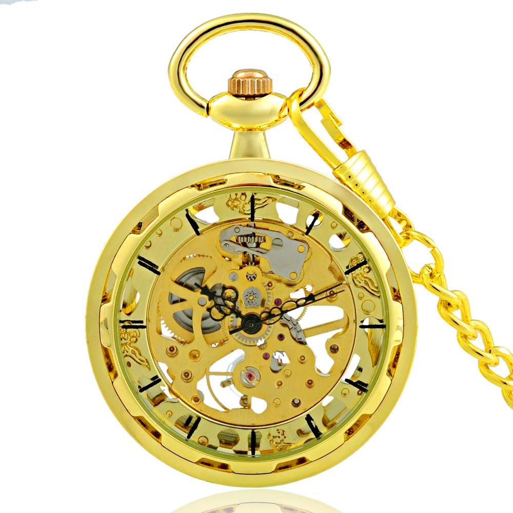 popular antique mens gold pocket watch buy cheap antique mens gold classic antique gold pocket watch men women open face transparent glass mechanical skeleton dial fob watches