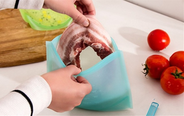 2 Pieces Silicone Fresh Bags Home Food Sealing Storage Bag Organization Kitchen Gadgets Cooking Tools Accessories Supplies