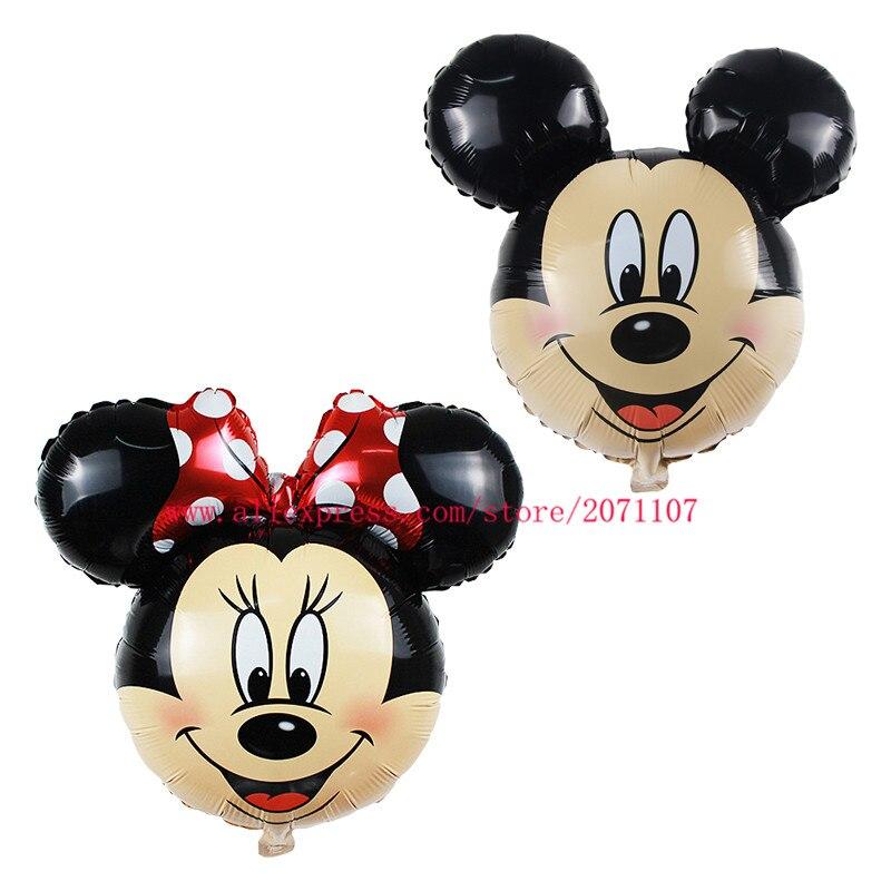 Lucky 50pcs/lot 65*69cm Mickey/Minnie Balloon Cartoon Mouse Head Foil Air Balloons Birthday Party Decoration Globos Classic Toy