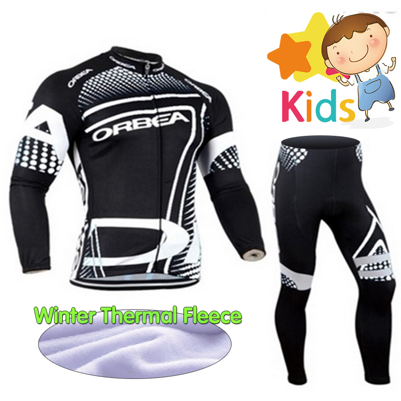 Pro Winter Long Sleeve Cycling Jersey Set for Kids Ropa Ciclismo Children's Cycling Clothing Set with Thermal Fleece Bike Wear top quality 2017 sky cycling jersey set long sleeve jacket tight cycling clothing wear breathable ropa ciclismo bike jerseys