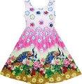 Sunny Fashion Girls Платье Китайский Павлин Пион Цветок Circle Pattern 2017 Лето Принцесса Свадебные Платья Партии Размер 4-12