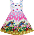 Sunny Fashion Girls Dress Chinese Peacock Peony Flower Circle Pattern 2017 Summer Princess Wedding Party Dresses Size 4-12