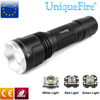300LM Uniquefire Black LED Flashlight 1507 20mm XRE Green/Red/White Light Tail Cap Switch Waterproof & Shockproof 3 Modes