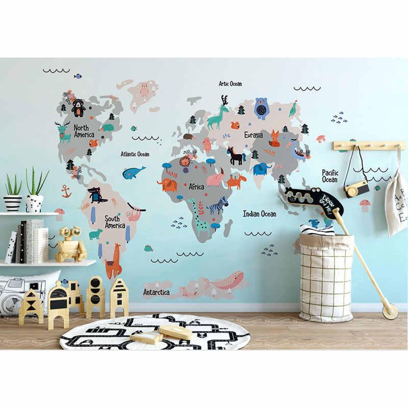 3d Cartoon World Map Photo Wallpaper Mural Children S Room Wall