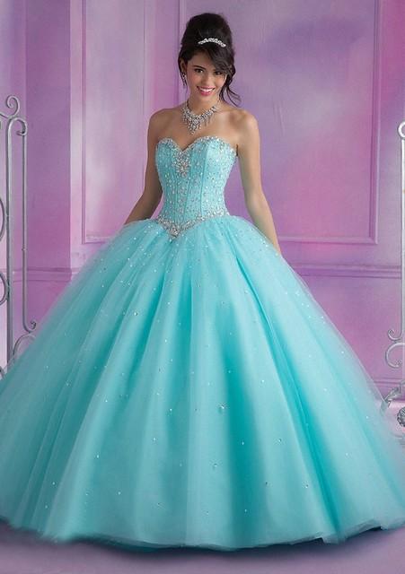 Princess Blue Ball Gown Wedding Dress Swarovski Crystals Sweetheart ...