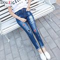2017 spring Blue Ripped Letter Print Skinny Ankle Pants Women Trousers Mid Waist Cropped Button Fly Jeans