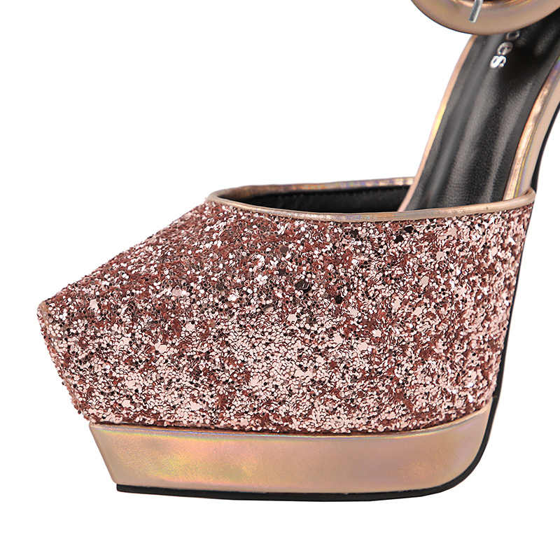 5ad108163e 2018 Women Summer Platform 12cm Extreme High Heels Luxury Heels Sandals  Female Glitter Pumps Female Scarpins Sequins Red Shoes