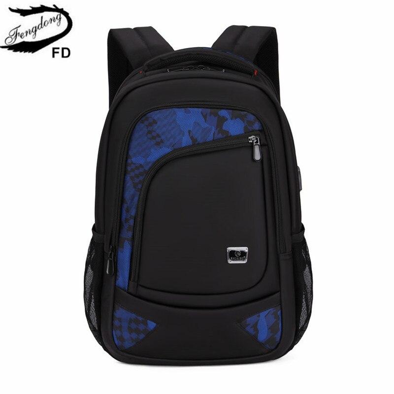 FengDong school bags for boys black waterproof school backpack usb bag pack backbag men travel bags new 2018 boy laptop bag 15.6