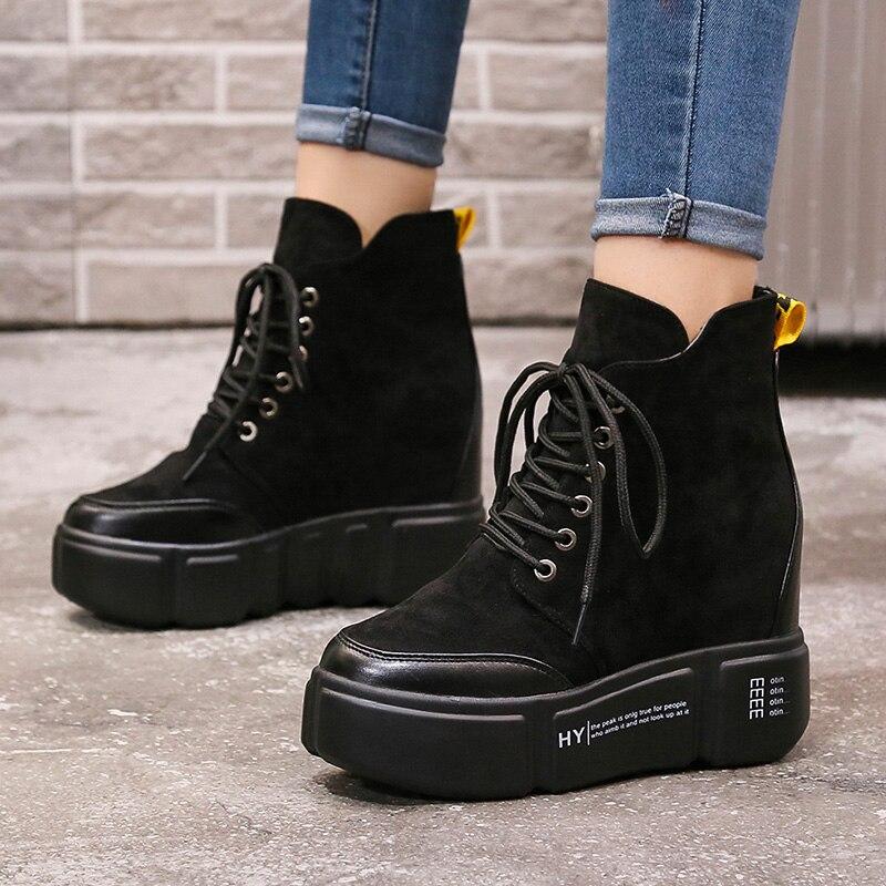 Las Cm Superior Casuales Piel Otoño Mujeres Cálido top Botas De Alto Tobillo Cuña 2019 Zapatos Plataforma Black Invierno 8 Zapatillas Alto Ocultos Tacones nU61qSYwx