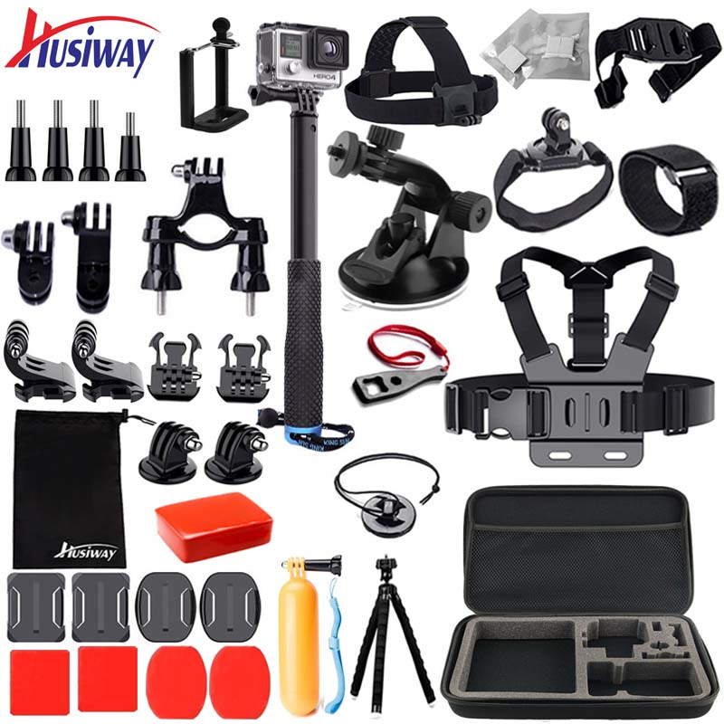 Husiway Accessories Set For Gopro Hero 7 6 Black,  Hero 5 4 Session, Kit For Yi 4K, Campark, Akaso, Eken H9r,  Gitup Camera 25A