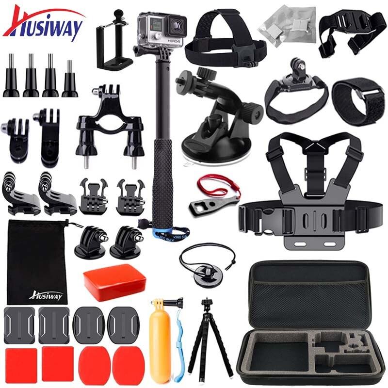 Husiway Accessoires Set pour Gopro Hero 7 6 Noir, Hero 5 4 Session, kit pour Yi 4 K, Campark, Akaso, Eken h9r, Gitup Caméra 25A