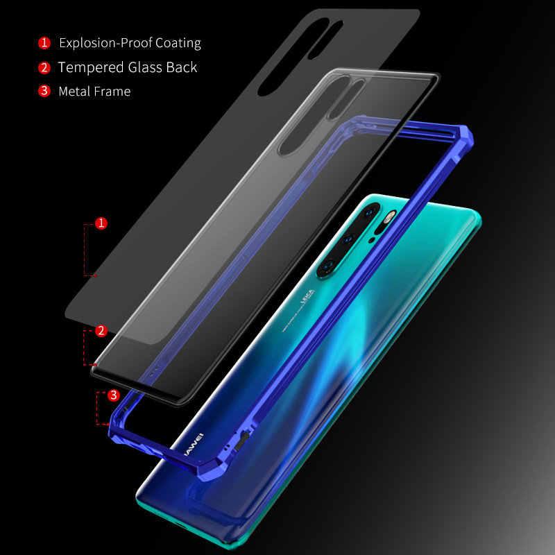 Яркая и крутая цветная металлическая рамка для huawei P30 Pro Чехол 9H жесткий прозрачный закаленный стеклянный чехол для huawei P30 Lite Nova 4E P30