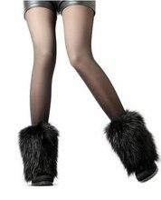 Зима-осень 20 см гетры рукава для сапоги бахилы Техногенные меха искусственного Furry для женщины ноги ботинки T-35