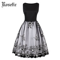 Rosetic Woman Gothic Vintage Dress Plus Size Floral Print Embroidery Sleeveless Fashion Travel Party Sexy Girls Goth Retro Dress