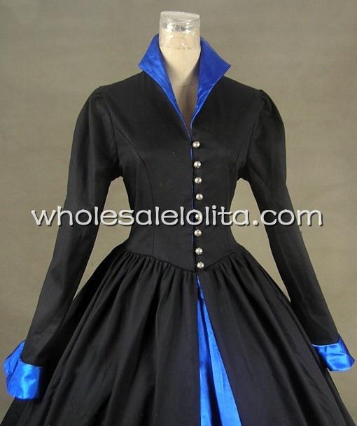 Robe victorienne Tudor gothique en Satin de coton robe PUNK - 4