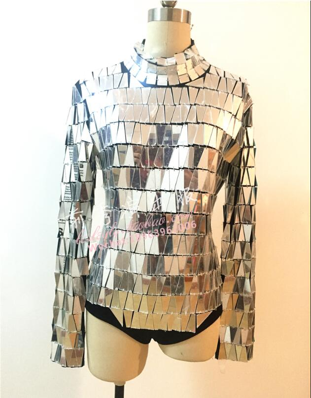 Блестящее зеркало костюм светодиодный Tron танцевальная одежда зеркальная танцевальная одежда ночной клуб диджей