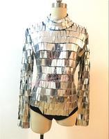 Shiny mirror costume LED Tron Dance Wear Mirror dance wear Night club DJ