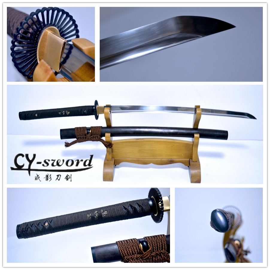 9260 Spring Hand Forged Quenched Steel Full Tang Blade Japanese Katana green theme real yokote