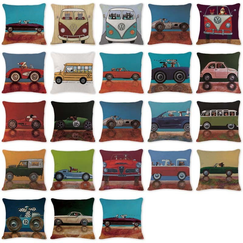 Custom Your Picture Cushion Cover Cartoon Animal Dog In Car Pillow Cushion Farmhouse 40 Cotton Linen Home Decotr Pillow Case
