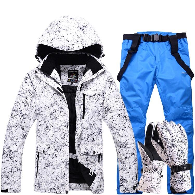 Nuevo grueso cálido traje de esquí hombres mujeres invierno a prueba de viento guantes de esquí impermeable Snowboard chaqueta pantalones traje masculino de talla grande 3XL - 2