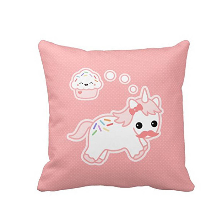 Cupcake Dream Unicorn High Quality Square Pillow Cushion Case Cover Twin Sides Zippered