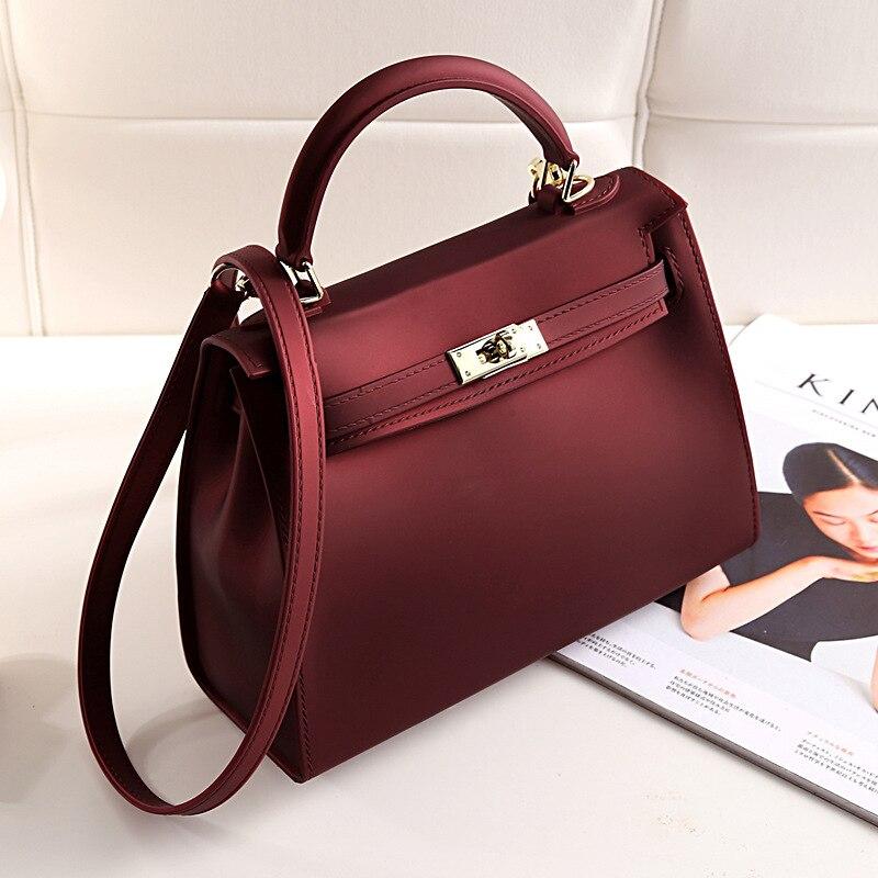 2018 женская сумка с матовой зернистой пряжкой женская сумка ручной одиночный асимметрия, на плечо сумка влажная силиконовая сумка