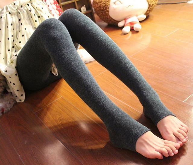Frete grátis inverno mulheres Pedal Footless calças justas mantenha quente Stretchy Alpaca lã sinta meia calça 1 camada