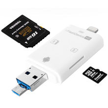 3in1 i Flash Drive Card USB Micro SD SDHC TF Reader for iPhone 5/5s/6/6 plus/ipad pro air mini/Samsung LG HTC Andrid OTG Phones