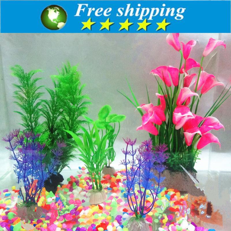 Hot selling 500g aquarium stone + 5pcs Plastic Aquarium Artificial Plants Fish Tank Grass Flower Ornament Decor Landscape.
