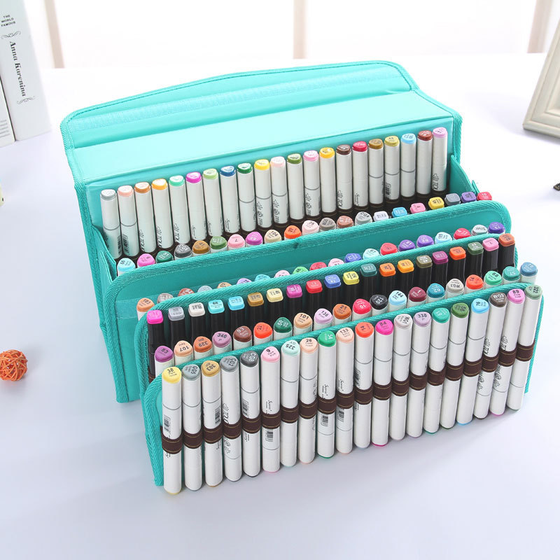 60/80/120 Holes 4 Layers Oxford Pencil Case School Marker Box Pouch Bag  Holder Marker Pen Painting Draw Gift For Kids Student