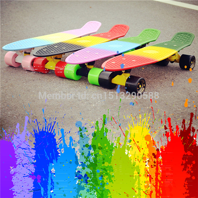 Peny Board Colorful Rainbow Skateboard Complete Retro Girl Boy Cruiser Mini Longboard Complete Skate Fish Long Board Skate Wheel