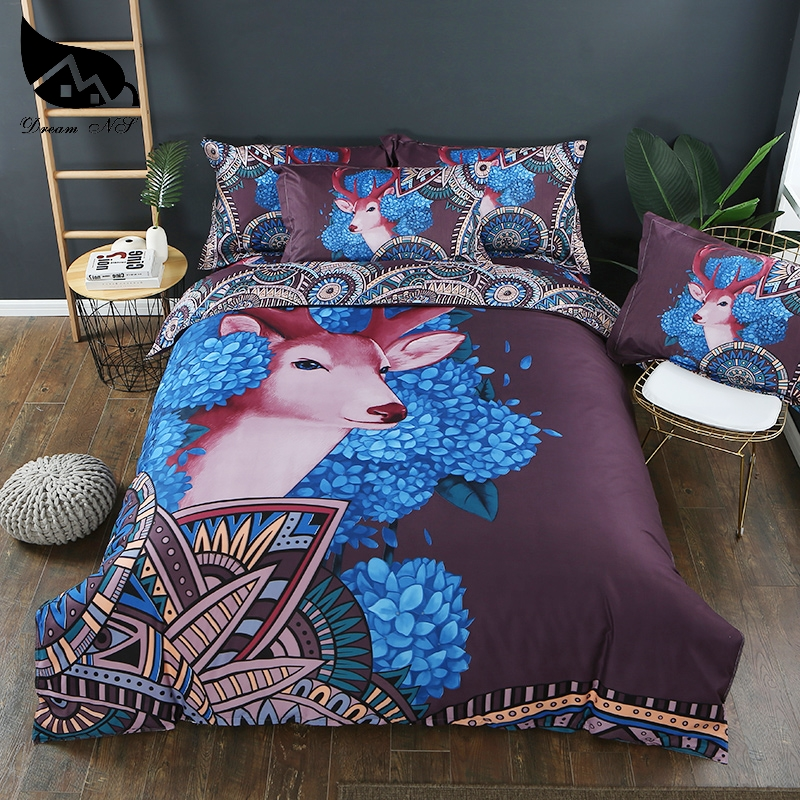Dream NS Deer Bedding Set King Queen Size Duvet Cover Purple Pillowcase Deer Printed Bed Set 3 Piece Bedclothes Bedding Sets     -