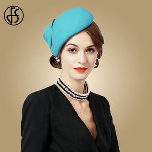 Image 4 - FS beyaz yün Fascinator şapka kadınlar için keçe pembe Pillbox şapkalar siyah bayanlar Vintage moda düğün Derby Fedora Chapeau Femme