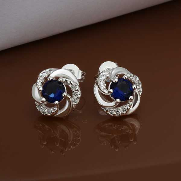 Hot Sale!!Free Shipping Silver Plated Earring,Fashion Silver Jewelry,Blue Stone Round Crystal Zircon Women Earrings For Gift