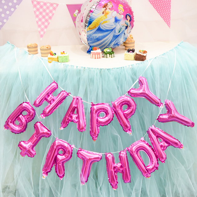 16 Inch 13 Pcs Foil Happy Birthday Balloons Kids Party Decoration Pink Helium Air Balloon Event Supplies