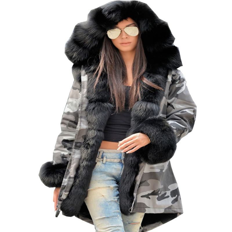 Roiii Female Jacket Winter Black Artificial Fur Patchwork Overcoat Thick Military Camouflage 2018 Outwear Warm Loosen Hood Parka