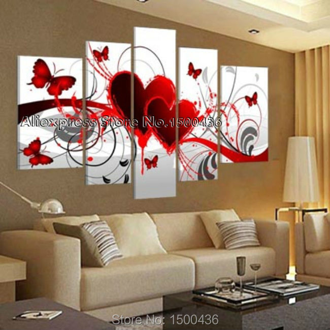 peint la main abstraite toile de papillon rouge coeur peinture 5 panneaux moderne photos sur. Black Bedroom Furniture Sets. Home Design Ideas