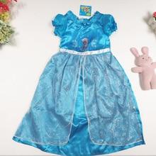 bc63e3ab564270 Speciale aanbieding Hot retail baby kleding meisje Elsa Jurk nieuwe 2015  meisjes prinses kant blauwe partij zomer jurken baby   .
