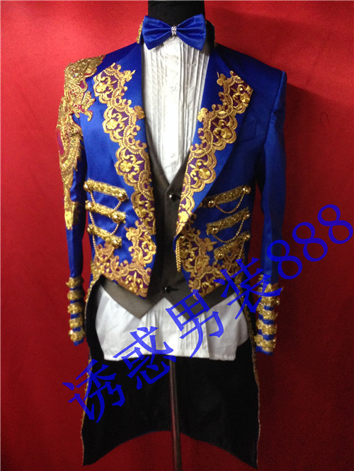 100%real luxury blue mens golden embroidery tuxedo