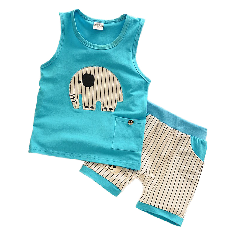 Kids Clothes Baby Boys Summer Clothes Children Clothing Sets Elephant Print Sleeveless Tops + Pants Sport Set Toddler Boy Wear fashion kids clothes baby boy clothes sets gentleman suit toddler boys clothing long sleeve children clothing