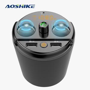 AOSHIKE-transmetteur FM | Bluetooth, musique de voiture, lecteur MP3, support mains libres de verre, Kit de cigarettes de voiture poids léger 2 USB