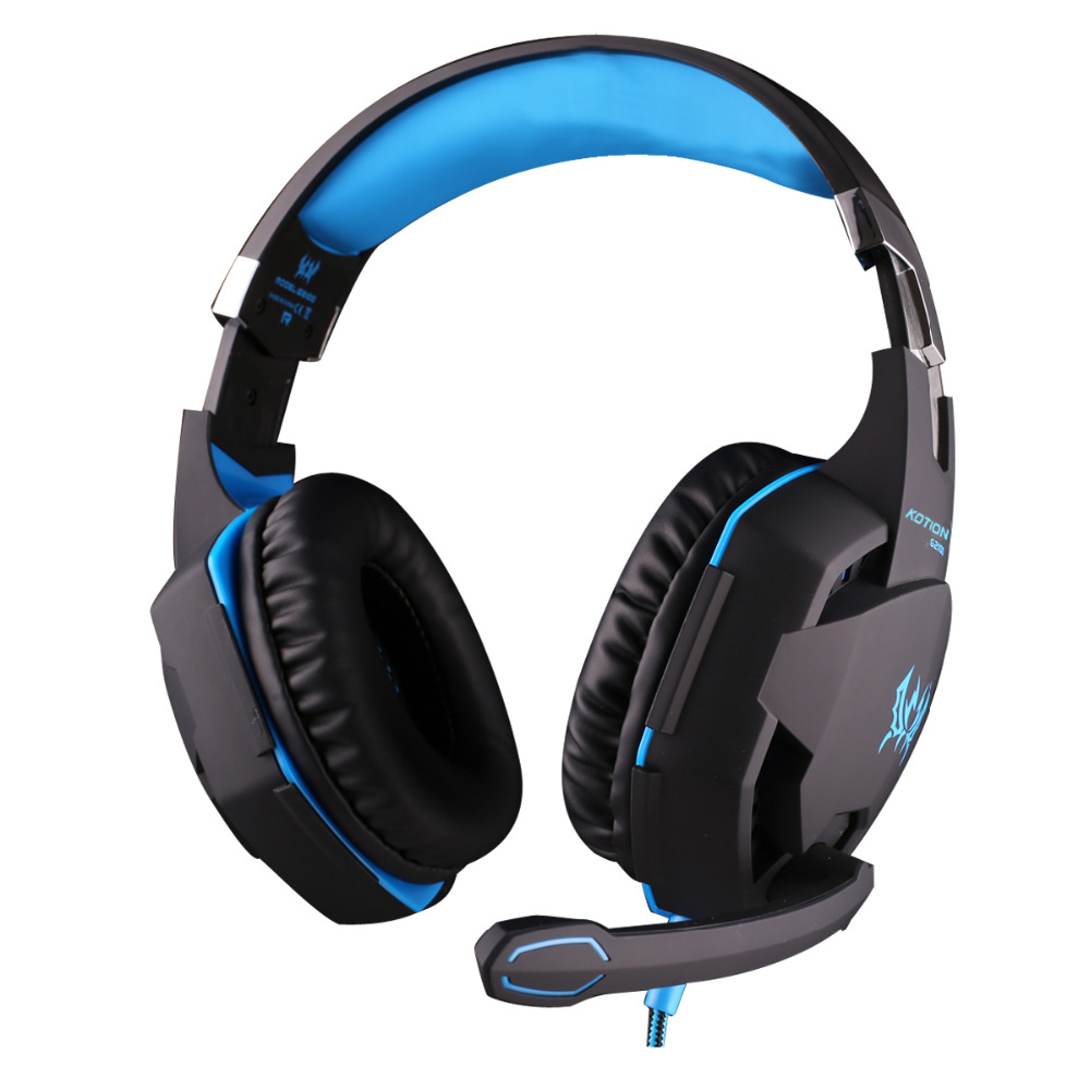 EACH G2100 Gaming Headphone Vibration Function Headset with Mic Stereo Bass Earphone LED Light for PC Laptop High quality 2016 pc780 over ear hifi stereo gaming headset earphone stereo bass led light headband headphone with mic for pc gamers