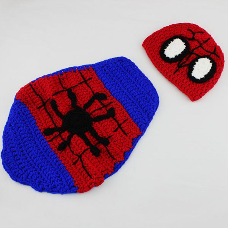 Spider Man Baby Costume Outfits Crochet Knitted Baby Beanies Cape
