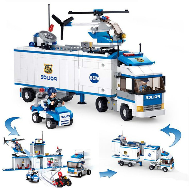 572Pcs City Series Police Station Truck Motorcycle Building Blocks Compatible Legoings Cities Brick Toys For Children Gifts bohs building blocks city police station coastal guard swat truck motorcycle learning