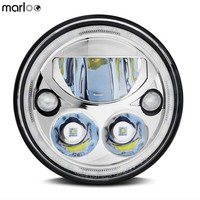 Marloo New 5.75 Vortex Style LED Headlamp Headlight White Halo Ring For Harley Dyna Sportster 1200 48 883