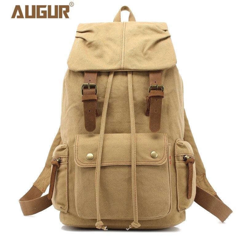 2018 NEW AUGUR Men Backpack Canvas Large Backpack Travel Bags For Men/Women Casual School Bag Vintage Military Style Backpacks
