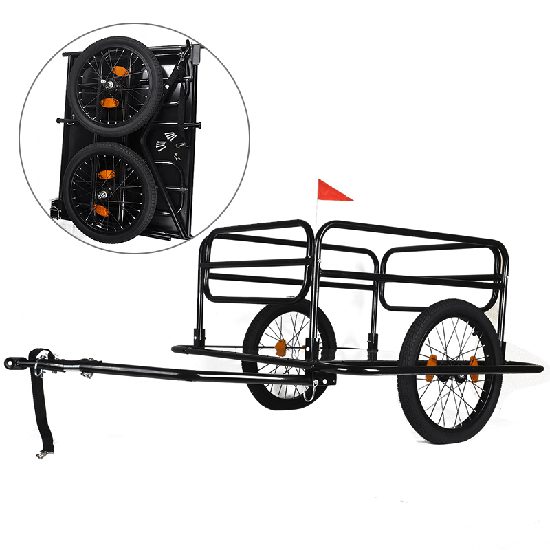 Foldable Dual Wheel Bicycle Bike Trailer 60kg Luggage Pets Cart Carrier With Rain Cover for Fitness Bodybuilding Black multi purpose bicycle carrier rubber luggage strap cord rope cable with clip random color 112cm
