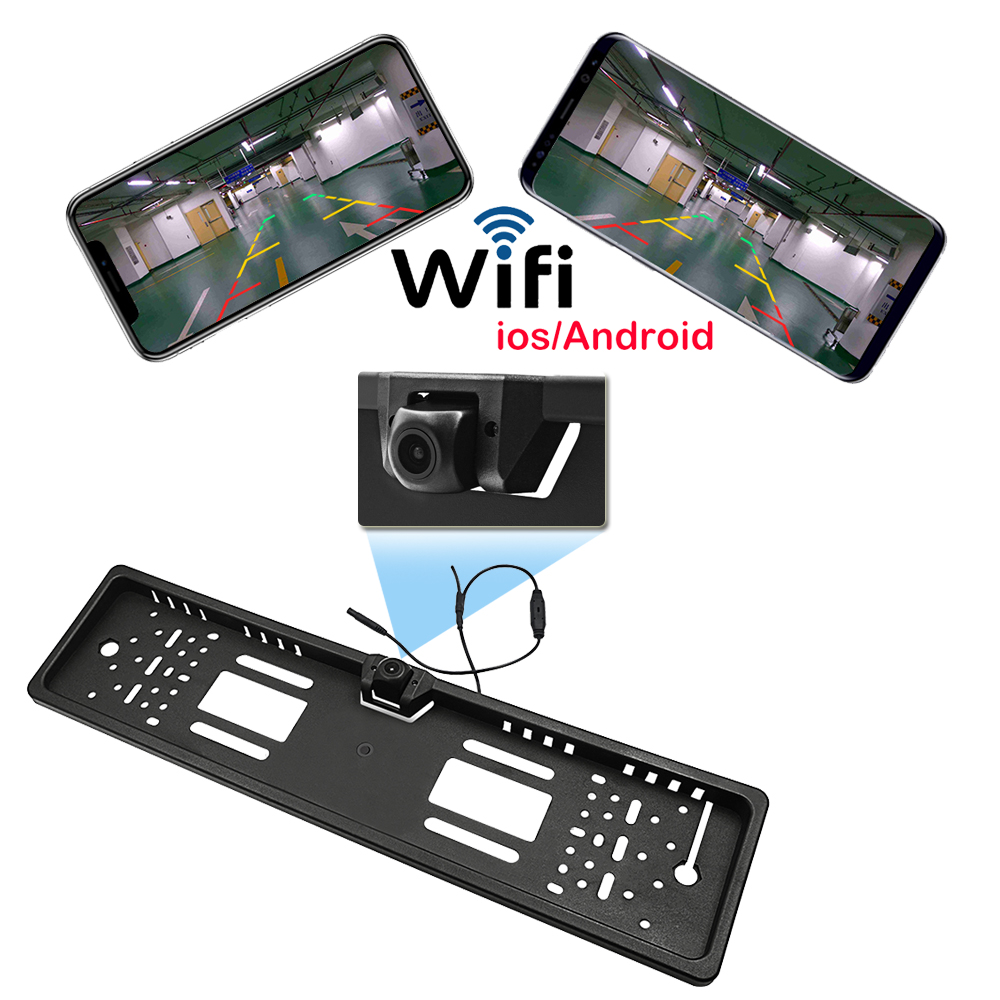 170 Wide Angle HD Car Wifi Camera License Plate Frame Wireless Rear View Backup Parking Video Recorder